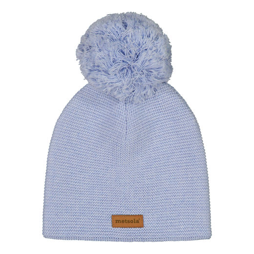 METSOLA - Knitted Basic Beanie, 1 Pom Pom, Denim