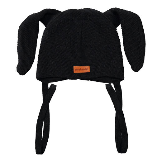 METSOLA - Knitted Bunny beanie, Black