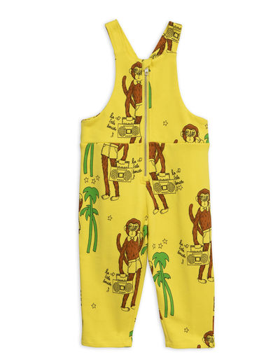 Mini Rodini - Cool monkeys aop dungarees, Yellow