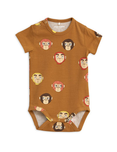 Mini Rodini - Monkeys aop ss body, Brown