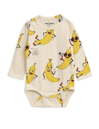Mini Rodini - Banana aop ls body, Offwhite