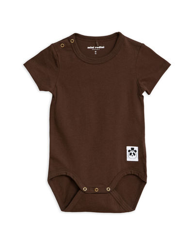 Mini Rodini - Solid cotton ss body, Brown
