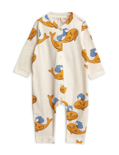 Mini Rodini - Whale aop jumpsuit, Orange