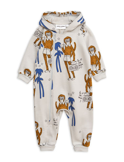 Mini Rodini - Cool monkeys aop onesie, Grey