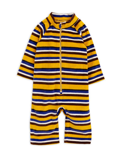 Mini Rodini - Velour stripe onesie, Yellow