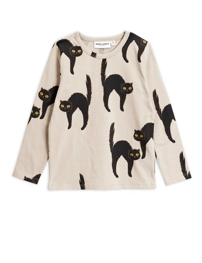Mini Rodini - Catz ls tee, Light grey