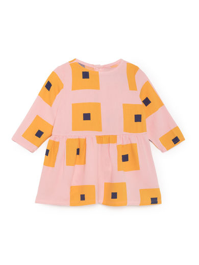 Bobo Choses - Squares Princess Dress, Mellow Rose