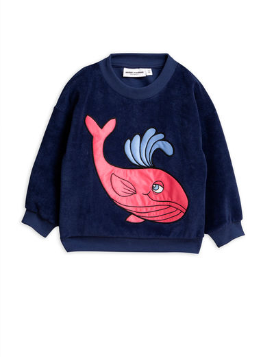 Mini Rodini - Whale sp terry sweatshirt, Navy