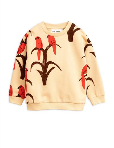 Mini Rodini - Parrot aop sweatshirt, Red