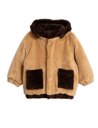 Mini Rodini - Faux fur hooded jacket, beige