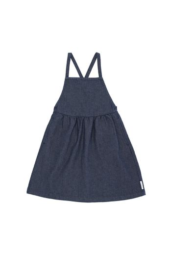 Denim braces dress, navy