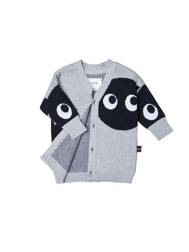 Huxbaby - SHADOW BEAR KNIT CARDI, Grey Marle
