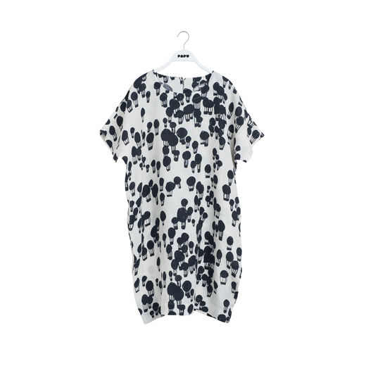 Papu - Woman LINEN DRESS Balloon, Ice cream / Black
