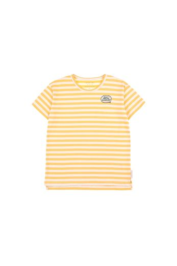 Tinycottons - 'ADVENTURE' STRIPES SS TEE  cream/canary
