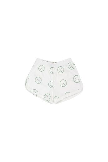 Tinycottons - 'HAPPY FACE' SHORT  off-white/deep green