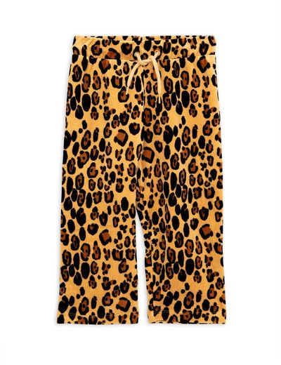 Mini Rodini - Leopard velour sweatpants, beige