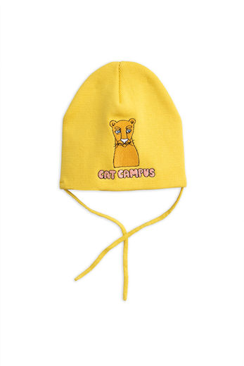 Mini Rodini - Cat campus patch hat, yellow