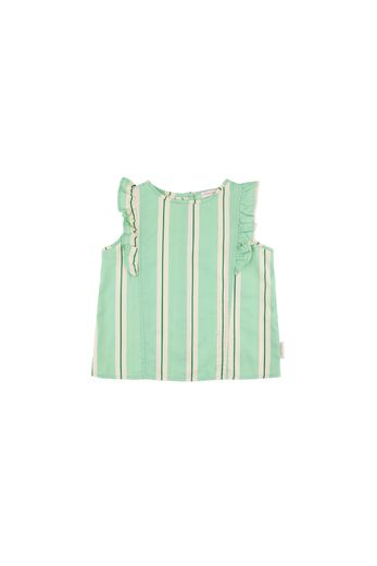 Tinycottons - 'RETRO STRIPES' RUFFLES BLOUSE emerald/cream