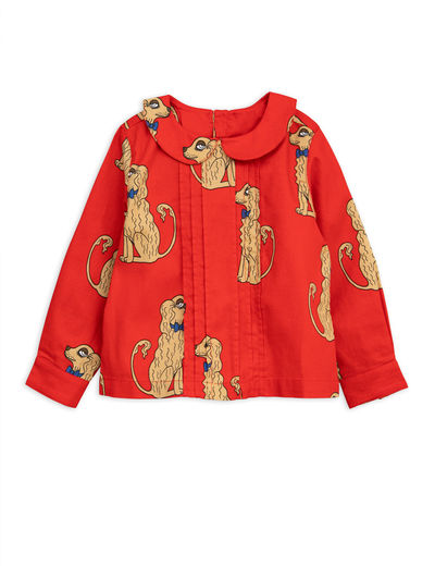Mini Rodini - Spaniels woven pleat blouse, red