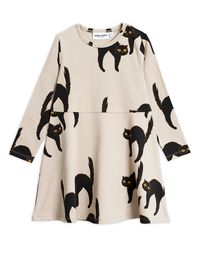 Mini Rodini - Catz ls dress, Light grey