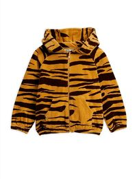 Mini Rodini - Tiger velour zip hood, brown