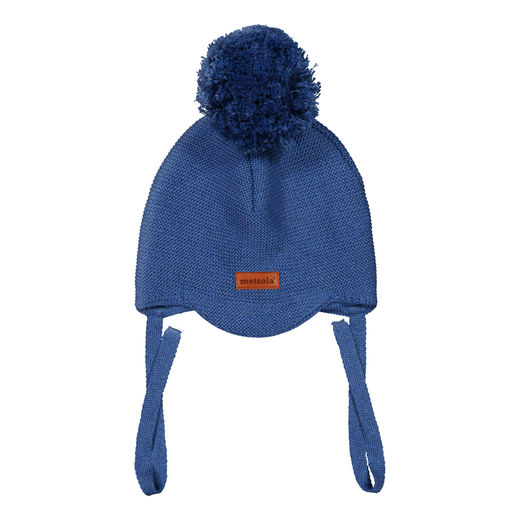 METSOLA - Knitted Beanie Peak, 1 Pom Pom, Dark Denim