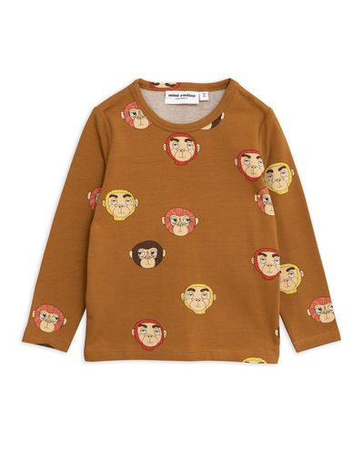 Mini Rodini - Monkeys aop ls tee, Brown