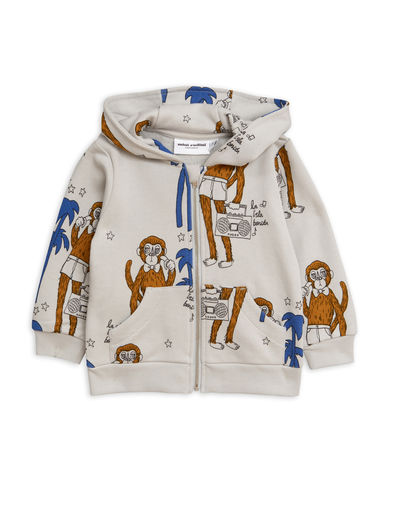 Mini Rodini - Cool monkey aop zip hood, Grey