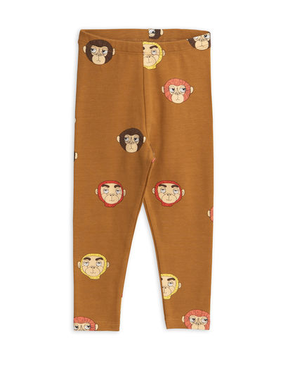 Mini Rodini - Monkeys aop leggings, Brown