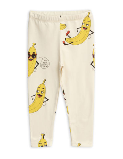 Mini Rodini - Banana aop leggings, Offwhite