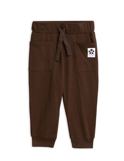 Mini Rodini - Solid cotton trousers, Brown