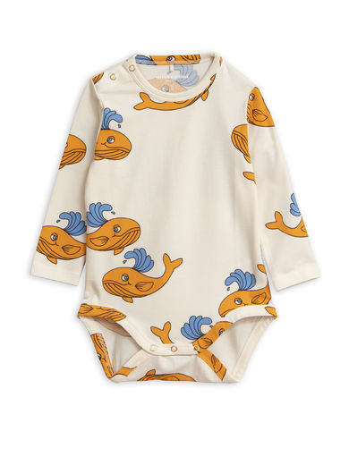 Mini Rodini - Whale aop ls body, Orange