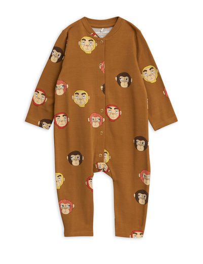 Mini Rodini - Monkeys aop jumpsuit, Brown