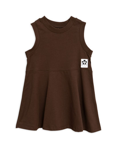 Mini Rodini - Solid cotton tank dress, Brown