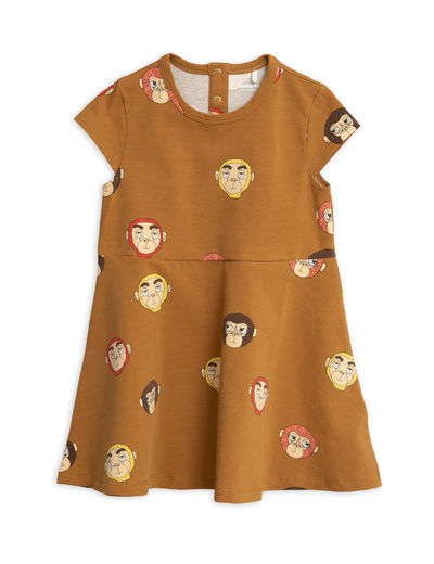 Mini Rodini - Monkeys aop ss dress, Brown