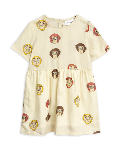 Mini Rodini - Monkey woven dress, Offwhite