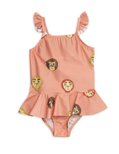 Mini Rodini -  Monkey skirt swimsuit (UPF 50+), Pink