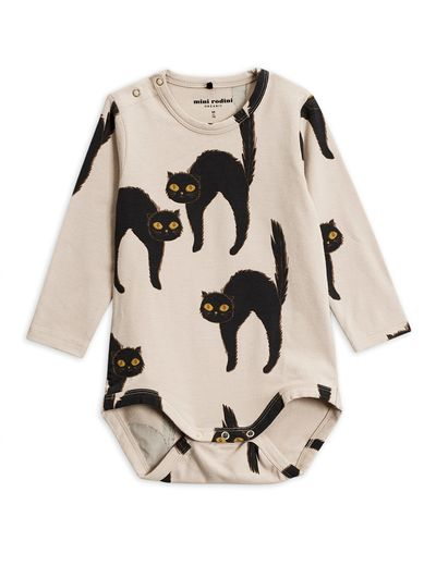 Mini Rodini - Catz ls body, Light grey
