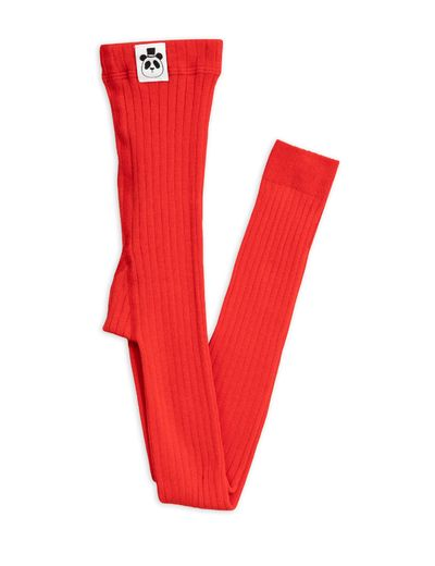 Mini Rodini - Ribbed leggings, red