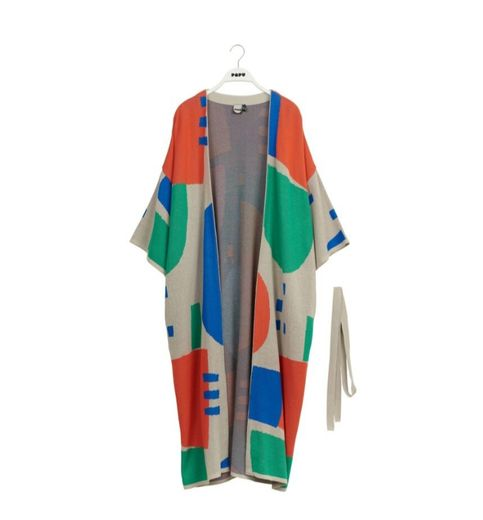 Papu - KNIT LONG KIMONO CARDIGAN, grey/green/red/blue