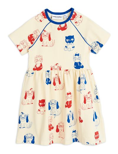 Mini Rodini - Minibaby aop ss dress, Offwhite