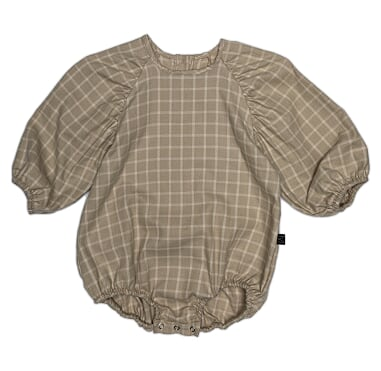 Monkind - NEUTRAL CHECKED PUFF ONESIE, ECRU