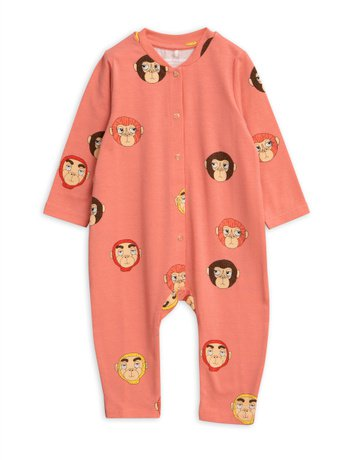 Mini Rodini - Monkeys aop jumpsuit, Pink