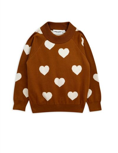 Mini Rodini - Knitted heart sweater, Brown