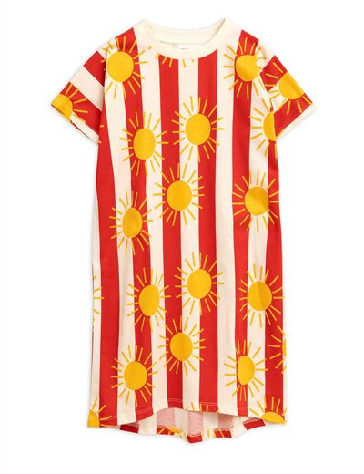 Mini Rodini - Sun stripe aop long dress, Red