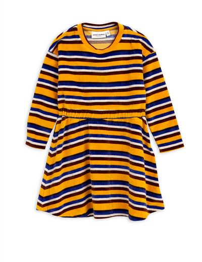 Mini Rodini - Velour stripe dress, Yellow