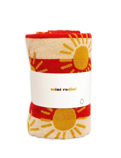 Mini Rodini - Sun stripe beach towel, Red