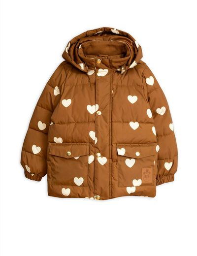 Mini Rodini - Hearts Pico puffer Jacket, Brown