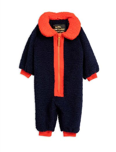 Mini Rodini - Faux fur baby overall, Blue