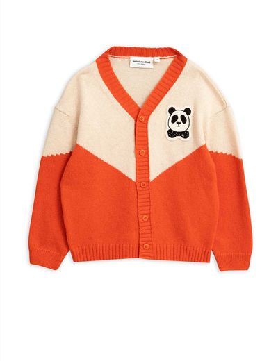 Mini Rodini - Panda knitted wool cardigan, Red